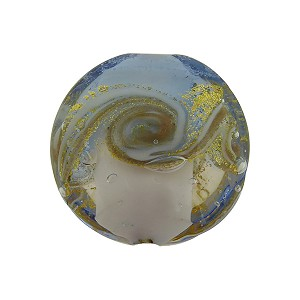 Pale Blue and White with Aventurina and 24kt Gold Foil Mare Disc 20mm Murano Glass Bead