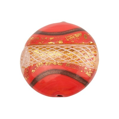 Disc 20mm Coral with Reticello and 24kt Gold Foil Murano Glass Bead