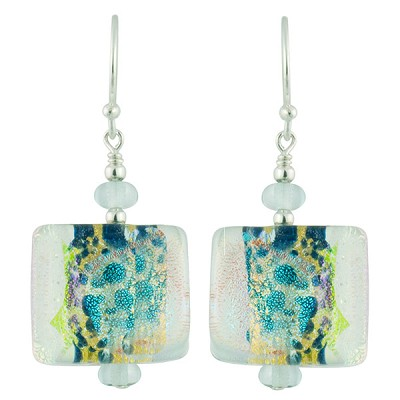 Fantasy Sparkles Earrings, Aquamarine Murano Glass with Dichroic and Sterling Silver Ear Wires