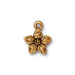Antique Gold Plated Pewter Jasmine Charm Per Piece