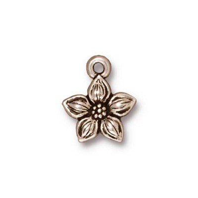 Antiqued Silver Plated Pewter Jasmine Charm Per Piece