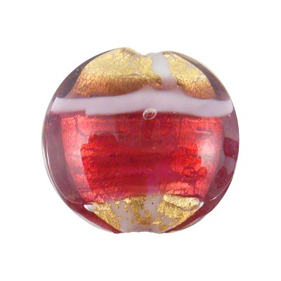 Double Striped Murano Glass Beads, 20mm Disc, Pink and Red w/Gold Foil
