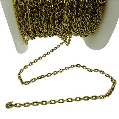Premium Flat Oval Cable Chain, 2.75mm Natural Brass