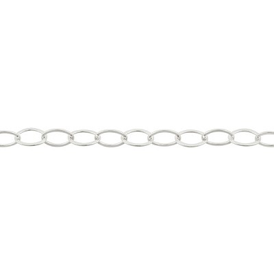 Premium Italian Sterling Silver 7.4mm x 5.4mm Flat Oval Cable Chain, Per Foot
