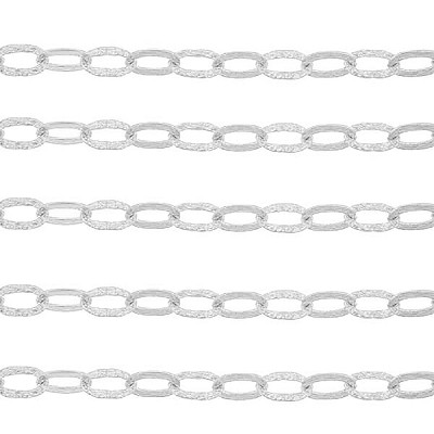 Sterling Silver Textured 1-1 Italian Cable Chain, 9.7 x 6.3mm