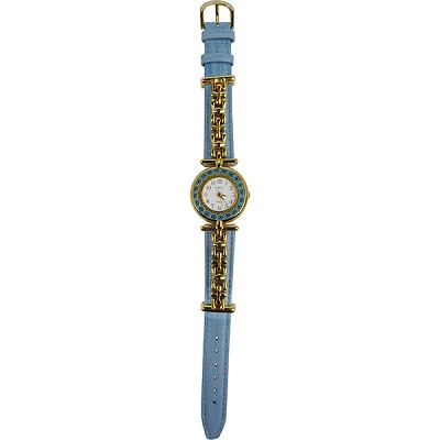 Blue Synthetic Leather with Gold Tone Band and Aqua Flowers