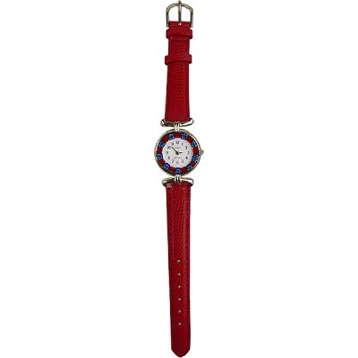Red Synthetic Leather with Silver Tone Watch Face with Blue and Red Millefiori Flowers