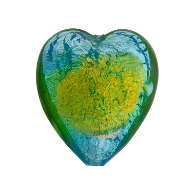 Murano Glass Bead Abstract Heart 21mm Aqua and Peridot with Silver Foil