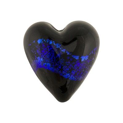 Purple Black Dichroic Heart 20mm Murano Glass Bead