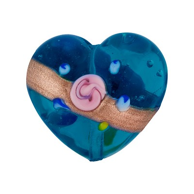 Aqua Fiorato Heart Diagonal Stripe 19mm Murano Glass Bead