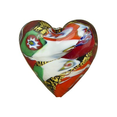 Klimt Heart 20mm Black Base Mosaico Puffy Gold Foil, Murano Glass Bead