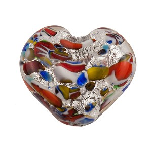 Venetian Bead Klimt Double Heart 20mm Silver Foil Multi Colors