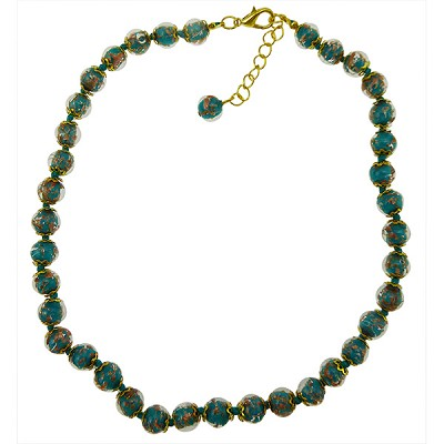 Aqua Green Aventurina  Necklace 16 Inches w/ 2 Inch Extender, Gold Tone Clasp Authentic Murano Glass Beaded