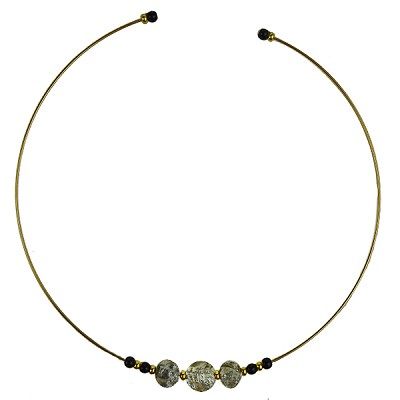 Murano Glass Choker, Memory Wire Gold Tone, 3 Beads Gray with Silver Foil