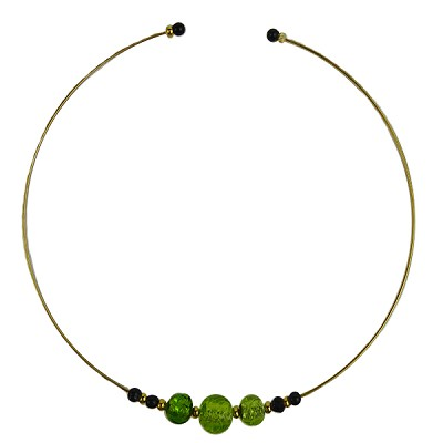 Murano Glass Choker, Memory Wire Gold Tone, 3 Beads Green with Silver Foil