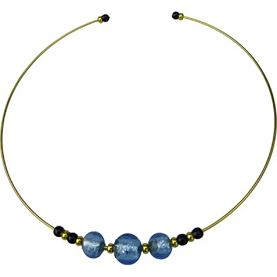 Murano Glass Choker, Memory Wire Gold Tone, 3 Beads Blue with Silver Foil