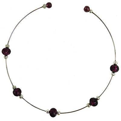 Murano Glass Choker, Memory Wire Silver Tone, 5 Beads Amethyst over Silver