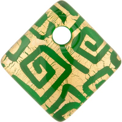 Emerald and Gold Foil Greek Key Fused Murano Glass Curved Diagonal Pendant 30mm