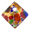 Fused Murano Glass Curved Diagonal Pendant 30mm 24kt Gold, Multi Colors Frit