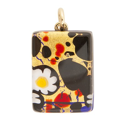 Black, Red and Gold 20x30mm Pendant W/Bail, Murano Fused Glass