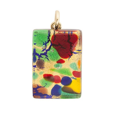 Gold Multi Colors Skinny 20x30mm Pendant W/Bail, Murano Fused Glass