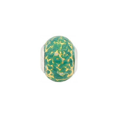 Large Hole Bead 4.5mm Murano Glass Silver Insert, Gold and Sea Green