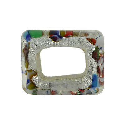 Large Hole Rectangular Bead for Regaliz, Multi Colors Silver Foil