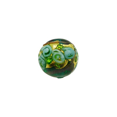 Murano Glass Bead Bed of Roses Exterior Gold Foil Round 10mm Transparent Verde Marino
