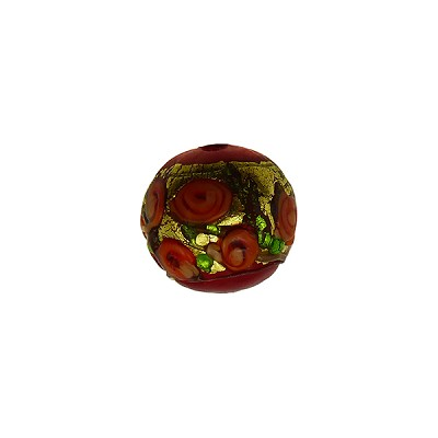 Murano Glass Bead Bed of Roses Exterior Gold Foil Round 10mm Opaque Red