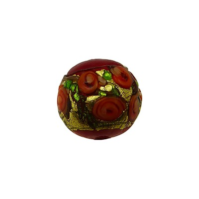 Murano Glass Bead Bed of Roses Exterior Gold Foil Round 12mm Opaque Red