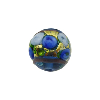 Murano Glass Bead Bed of Roses Exterior Gold Foil Round 14mm Transparent Blue