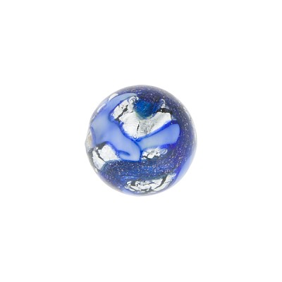 Blue and Blue Aventurina Silver Foil Galaxy,12mm Round, Murano Glass Bead