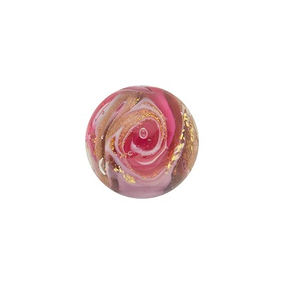 Amethyst and Rubino with Aventurina and 24kt Gold Foil Mare Round 12mm Murano Glass Bead