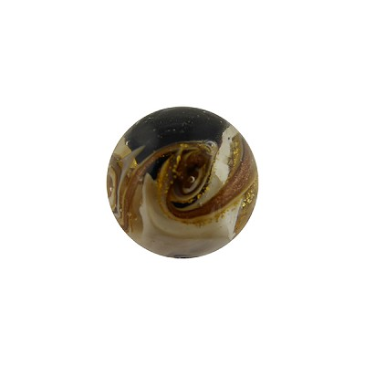 Black and White with Aventurina and 24kt Gold Foil Mare Round 14mm Murano Glass Bead