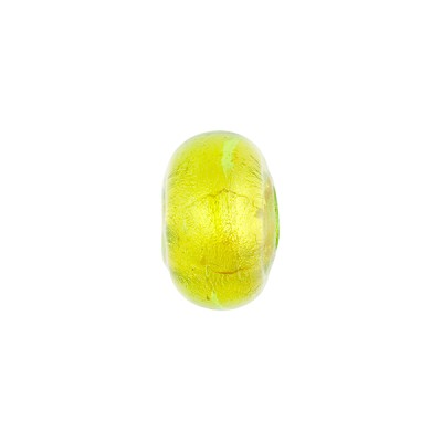 Green Gold Foil Rondelle 13x8mm 2mm Hole, Murano Glass Bead