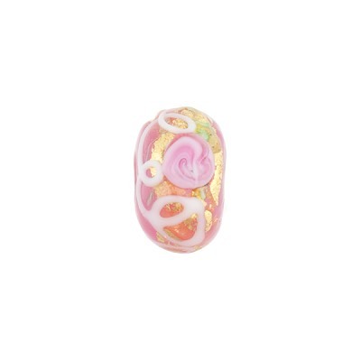 Pink Fiorato Rondelle 13x8mm 2mm Hole, Murano Glass Bead