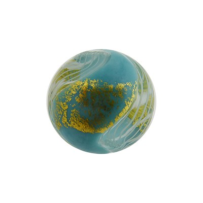 16mm Round Turquoise with Reticello and 24kt Gold Foil Murano Glass Bead