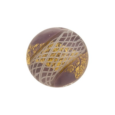 16mm Round Mauve Purple with Reticello and 24kt Gold Foil Murano Glass Bead