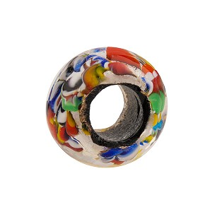 Klimt Multi Silver Foil Rondell 16x10 6.8mm Hole Murano Glass Bead