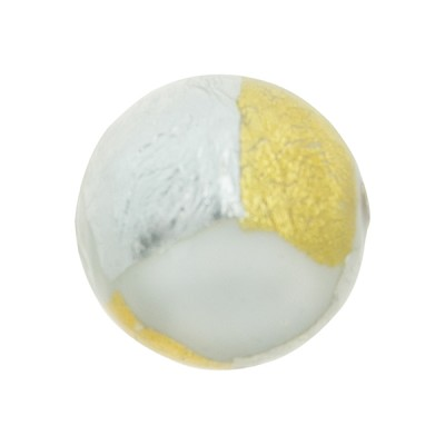 Gold n Silver Splashes 20mm Vicenza White, Murano Glass Bead