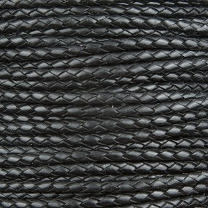 Black Braided Bolo Leather Cord, 4mm Diameter, Per Foot