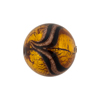 Murano Glass Bead Aventurina Round Gold Foil 18mm Topaz