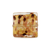 Venetian Glass Bead Square 17mm Chocolate and Gold Foil with Avventurina Sparkles