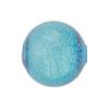 Blown Murano Glass Round Gold Foil 20mm, Aqua