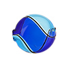 Aqua, Cobalt Venetian Glass Blown Beads Bi-color Swirl
