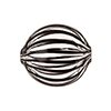 Black, Clear Venetian Glass Blown Beads Straight Lines