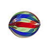 Blown Murano Glass Bead - Red, Blue & Green, 25mm