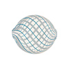Aqua, White Spiral Flat Round Venetian Blown 20mm