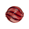 Red & Black Blown Murano Glass Flat Round Bead, Double Layer, 25mm