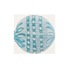 Murano Glass Bead, Opaque Aqua White Chevron Blown Round 20mm